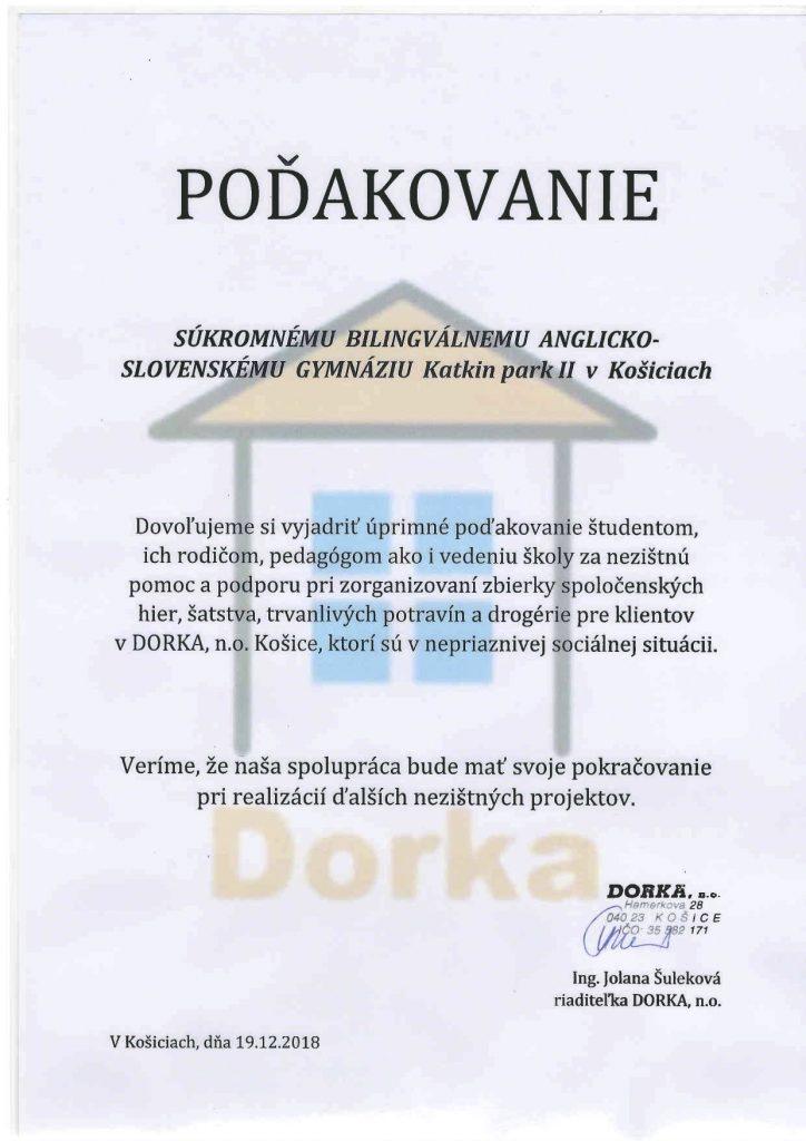 Dorka - poďakovanie