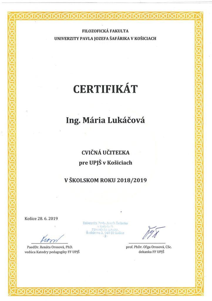 UPJS certifikat 2