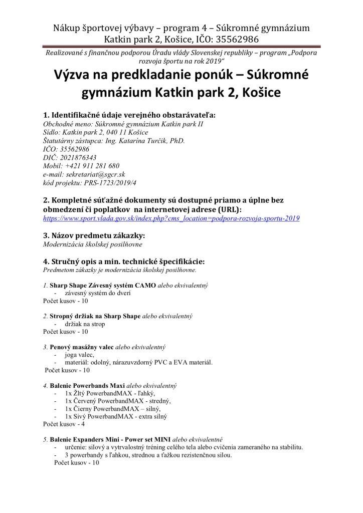 FINAL vyzva-na-predkladanie-ponuk - modernizácia školskej posilňovne Súkromné gymnázium Katkin park 2 Košice (001)